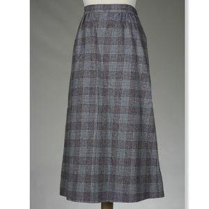 Vintage Pendleton Gray Plaid TWEED Wool Skirt, 8